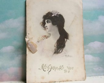 Victorian All Happiness to you New Years Card 1900