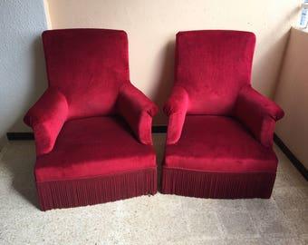 Pair of armchairs velvet Garnet