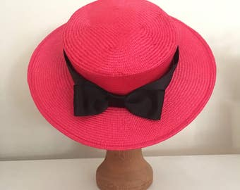 Mini Boater - Red Hat Fascinator