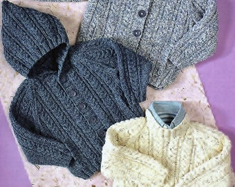 Childrens Aran Sweater, Jacket And With Hoodie, Knitting Pattern. PDF Instant Download.