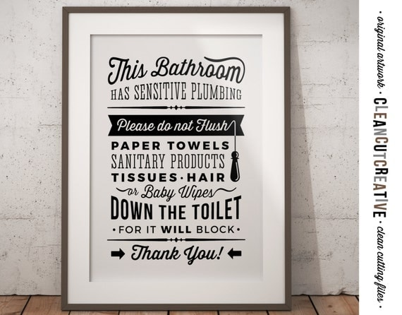 Bathroom Sign Sensitive Plumbing No Septic System Do Not