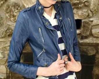 Blue Feminine Leather Jacket