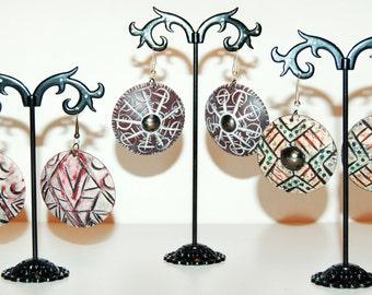 Statement earrings Ethnic earrings Drop round earrings Polymer clay earrings Unique design jewelry