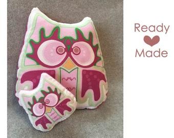 Pink Mama and Baby Night Owl Stuffed Animal, Pillow Plushie