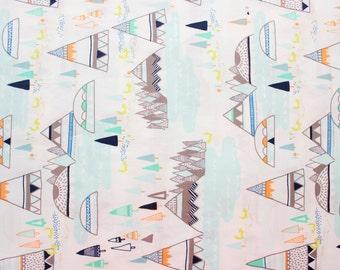 Art  Gallery Fabric, AGF, Indian Summer, Woodland Pine, Sarah Watson, White, Mint Green, Tent, Teepee, Fox, Lake, Mountain, Half Metre