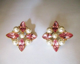 Signed Napier Post Earrings, For Pierced Ears, Pink Rhinestones and Faux Pearls, Mid-Century Jewelry, 1960's