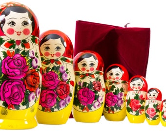 Nesting Doll - 10 dolls in 1 - VERY BIG size -  Russian SEMENOVO Traditional - Hand Painted in Russia