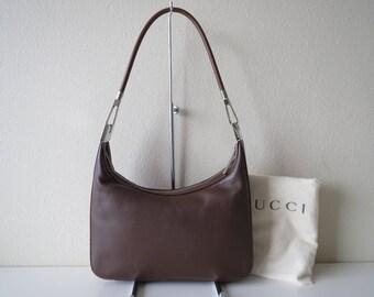 Gucci Leather Shoulder Bag Zipper Top Vintage from 90s