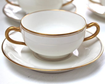 Limoges Cream Boulion Soup Cups and Saucers