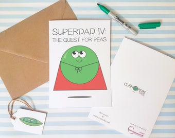 Funny Father's Day Card - Super Dad - Superman Fans - Pea Puns - Cute Dad Birthday Card - Perfect Quirky Card for Father - Charity Card