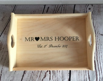 Personalised wedding tray, wedding breakfast, personalised wedding gift, vintage wedding, wedding prop