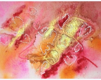 Pink , Orange, Gold Abstract watercolor with hearts original painting, wall hanging, home decor