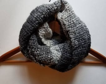 Women's Infinity Scarf, Women's Scarf, Crochet Scarf, Wool-Blend Scarf, Sliver/ Gray & Charcoal Infinity Winter Scarf, Fall Scarf