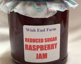 Raspberry Jam Reduced Sugar, Homemade Jam,  200g (7oz) Jar, Food Gift, Low Sugar, Afternoon Tea, Jam Gift, Teacher Gift, Diabetic