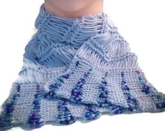 Beaded scarf, Blue beaded scarf, Beaded cotton scarf, Knitted beaded scarf, Spring scarf, Summer scarf, Gift for Her, Women's Fashion