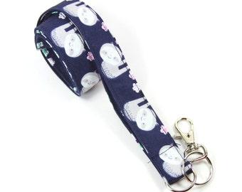 SLOTH Fabric lanyard, Sloth badge holder, Animal lanyard, Sloth lanyard, Blue lanyard, Zoo Keepers gift