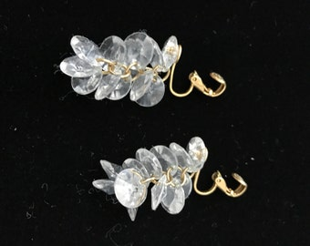 Clear Plastic dangle clip on Earrings