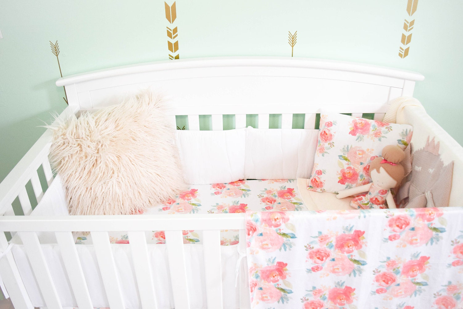 Pink Floral Baby Bedding Girly Shabby Chic Peach Crib