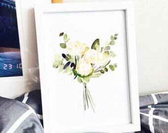 White Roses and Eucalyptus Watercolor Poster Art Print