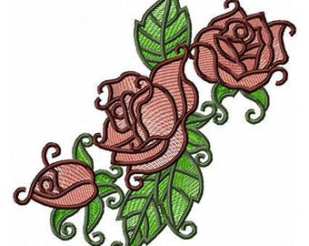 Fl 007 Roses 5*7, 6*8 - Machine Embroidery Design
