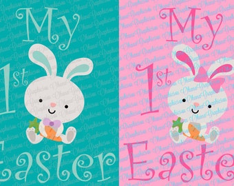 My 1st Easter, with Boy Bunny Girl Bunny Combo SVG