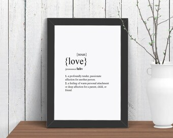 Small Love Dictionary Definition Print, Typography Wall Art, Room Decor, Modern, Poster, A4 8x10 Ikea 21x30
