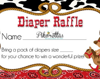 Western Afro Cowboy Diaper Raffle Tickets, Dipper Raffles, Baby Shower Games, Baby Cowboy Western Diaper Raffle Tickets, Cowboy Baby Shower