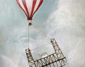 One Balmy Afternoon- Print of original - hot air balloon, Portland Steel Bridge, children's book illustration, nursery art, 8x10, 11x14