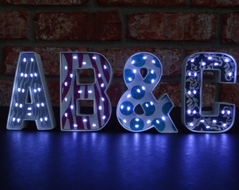 Mini Marquee Letters - Unique Lighted Letters - 4 Inch Paper Mache Letters with Battery Operated LED Fairy Lights - Patterned Background