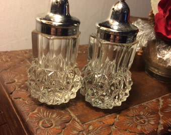 Vintage Diamond Point Crystal Salt and Pepper Shakers