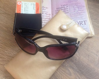 Passport cover and matching glasses, sun glasses case. travel pouch, passport holder, passport wallet, glasses protection.