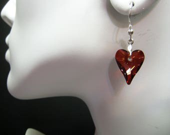 Red Magma Crystal Earrings - Swarovski Crystal Heart Earrings - Wild Heart Crystal Earrings - Red Heart Earrings - Gift for Her - CRY-07