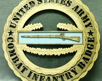 """Custom 12"""" Wood US Army Combat Infantry Badge Wall Tribute - FREE SHIPPING"""