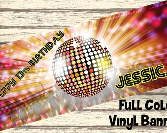"18""x30"" Retro 80s Disco Party Personalized Party Banner"