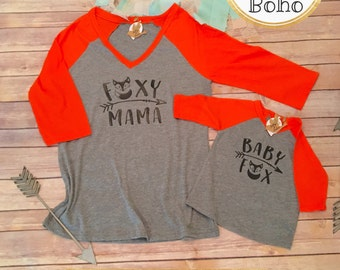 Mommy and Me Shirts, Mommy and Me Outfits, Mom and Son Shirts, Mom and Daughter Shirts, Family Shirts, Baby Fox Shirt, Mama Fox Shirt Set