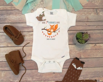 Our First Fathers Day Onesie®, Happy Father's Day Onesie, Father's Day Gift from Baby, Custom Onesie, Fox Onesie, Fathers Day Baby Outfit