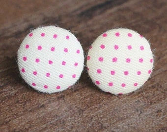 White and Pink Polka Dot Fabric Button Stud Retro Earrings