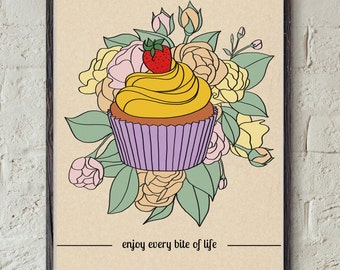 Cupcake Printable - Inspirational Quote - Bakery Wall Art - Strawberry Decor - Flower Print- Instant Download Art - Life quote Print