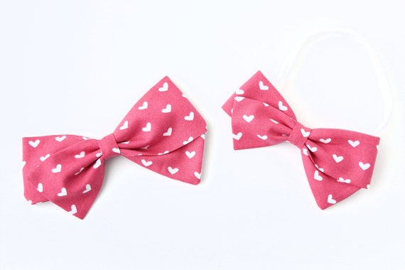 Valentine Collection- Baby Girl, Toddler, Girls Fabric Bow, Newborn, Hand tied bow, Mauvey pink Heart Bow