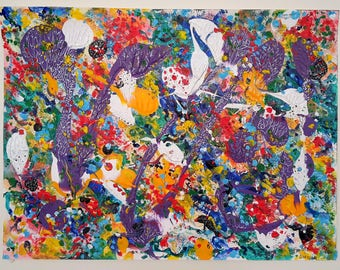 Abstract acrylic painting on paper - Spring Festival - 32x41 cm - Colourful Modern Wall Art