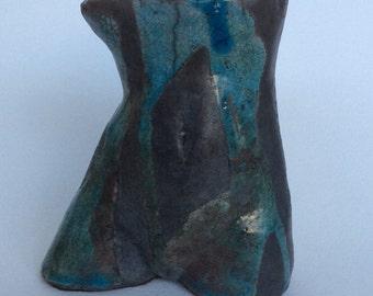 Ceramic Raku Fired Female Half Torso