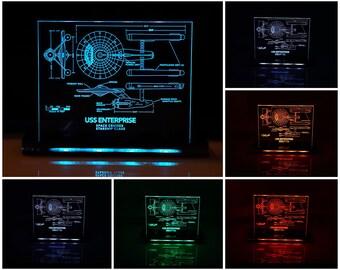 USS Enterprise LED Illuminated Lamp perfect as a gift for a Trekkie or Star Trek geek.  Place in Mancaves, bars, garages, desks.