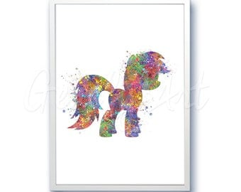 My Little Pony Watercolor Art Print Home Living Animal Painting Unicorn Poster