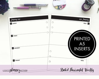 Dated Horizontal Weekly Inserts | WO2P Horizonal | Horizontal Weekly Inserts | A5 Ring Planner Inserts