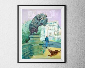 Dumbarton Bridge - Postcards from Washington DC - Buffalo bridge, dog illustration, Turkish Embassy, Georgetown print, City Beautiful, art