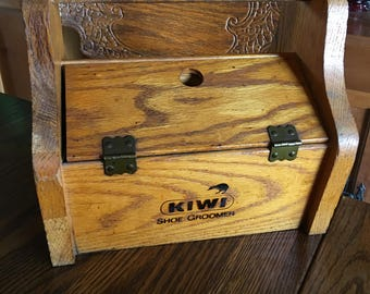 Vintage Kiwi Shoe Groomer Shine Wooden Box Container