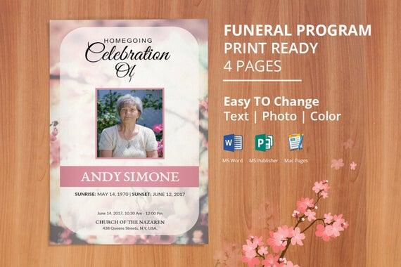 Printable Funeral Program Template Memorial Service – Memorial Service Template Word