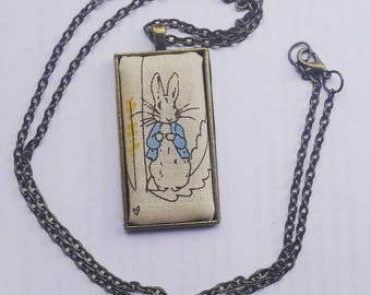 Peter Rabbit Fabric Pendant Necklace