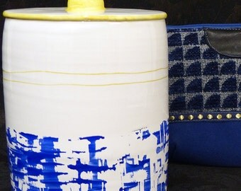 vase ceramic hand-painted - Marine