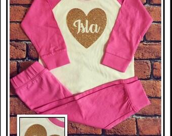 Personalised infant toddler babies pyjamas pjs nightwear , gold glitter name